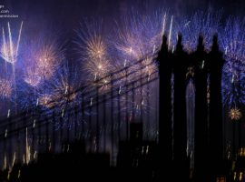 The 2017 Macy's Fireworks over the Manhattan Bridge in New York City from the top of One Brooklyn Bridge. ©Mark D Phillips