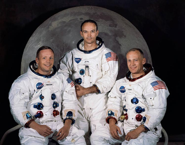 Apollo 11 crew of (left to right) Armstrong, Collins, and Aldrin.