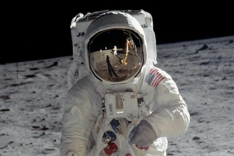 Astronaut Buzz Aldrin walks on the surface of the moon near the leg of the lunar module Eagle during the Apollo 11 mission. Mission commander Neil Armstrong took this photograph with a 70mm lunar surface camera. Photo: NASA