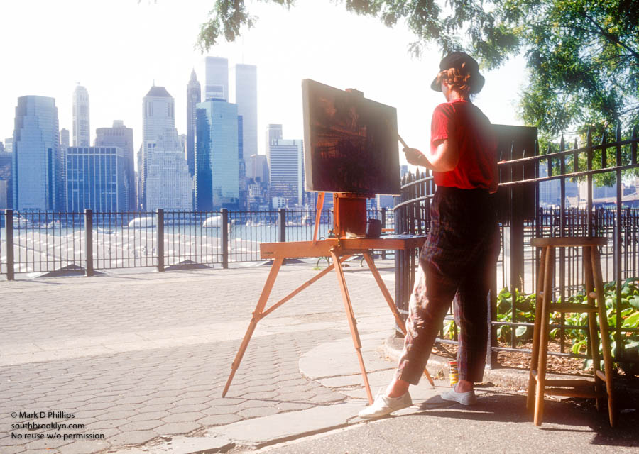 Painter on Brooklyn Heights Promenade with World Trade Center view. ©Mark D Phillips