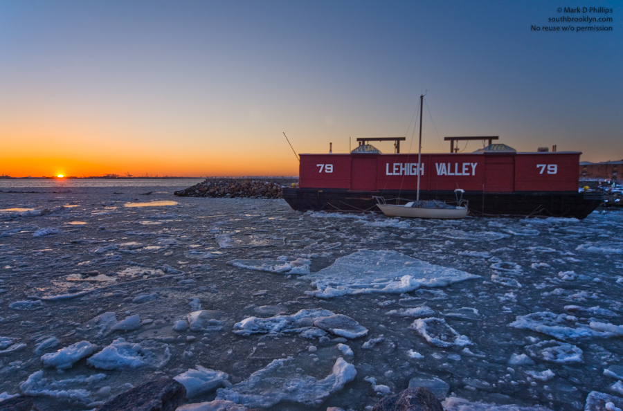 LEHIGH VALLEY<br><br>The Waterfront Museum is surrounded by ice on February 27, 2015, at its homeport in Red Hook, Brooklyn. Today, the Lehigh Valley No. 79 represents the only surviving all-wooden example of the Hudson River Railroad Barge from the Lighterage Age (1860-1960) that remains afloat and accessible to the general public, salvaged from the mudflats of New Jersey by David Sharps. ©Mark D Phillips