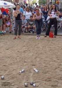 Bastille Day on Smith Street is an international Petanque tournament with courts made of sand. ©Mark D Phillips