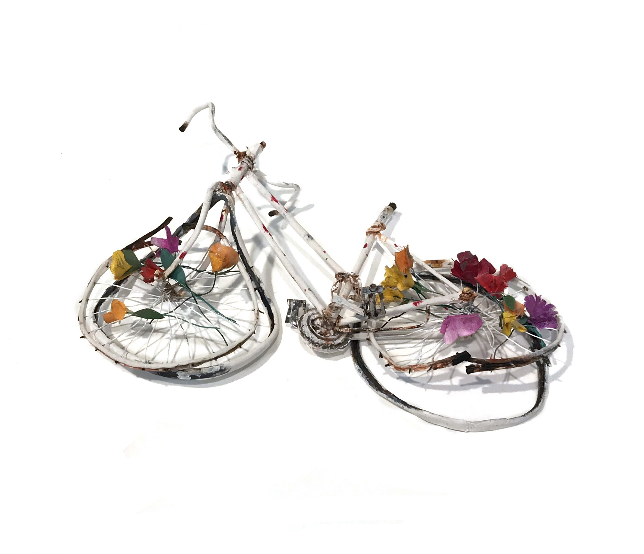 Rachel Grobstein, Ghost Bike, 2019, on view in a group exhibition, at BRIC in the Main Gallery in a group exhibition, Death Becomes Her, co-curated and in partnership with The Green-Wood Cemetery.