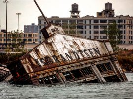 IS Brandtsen pier collapsed into Gownaus Bay at the end of the Gowanus Canal in Brooklyn, NY. American Export-Isbrandtsen Lines, New York, was the leading US-flag shipping company between the U.S. east coast and the Mediterranean from 1919 to 1977. ©Mark D Phillips