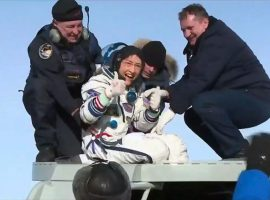 After a record-setting 328-day stay on the International Space Station (ISS), NASA astronaut Christina Koch returns to Earth.
