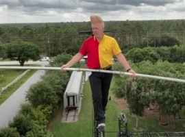 Comic Daredevil, Bello Nock, takes social distancing during quarantine to a whole new level.