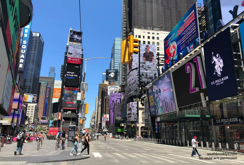 New York City on May 30, 2020, during the Covid-19 pandemic,; Times Square devoid of traffic.