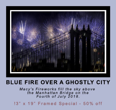 Best Images of 2017 on The South Brooklyn Network: Blue Fire over a Ghostly City in 2017. ©Mark D Phillips