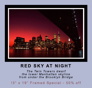 Red Sky at Night, New York City, World Trade Center, Brooklyn Bridge ©Mark D Phillips