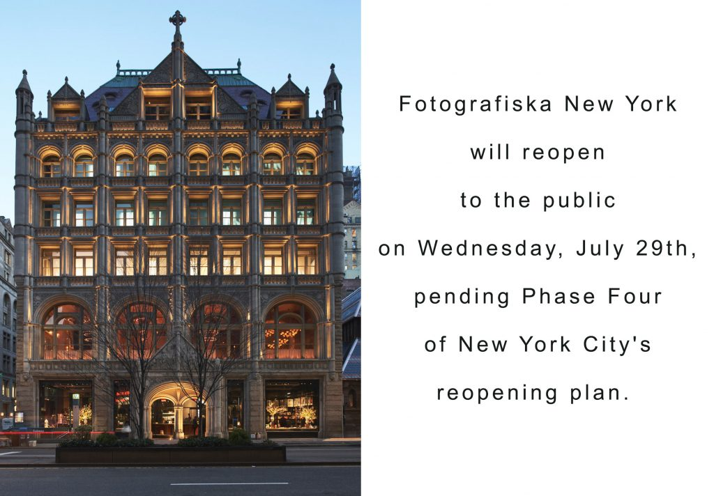 Fotografiska New York will reopen to the public on Wednesday, July 29, 2020.