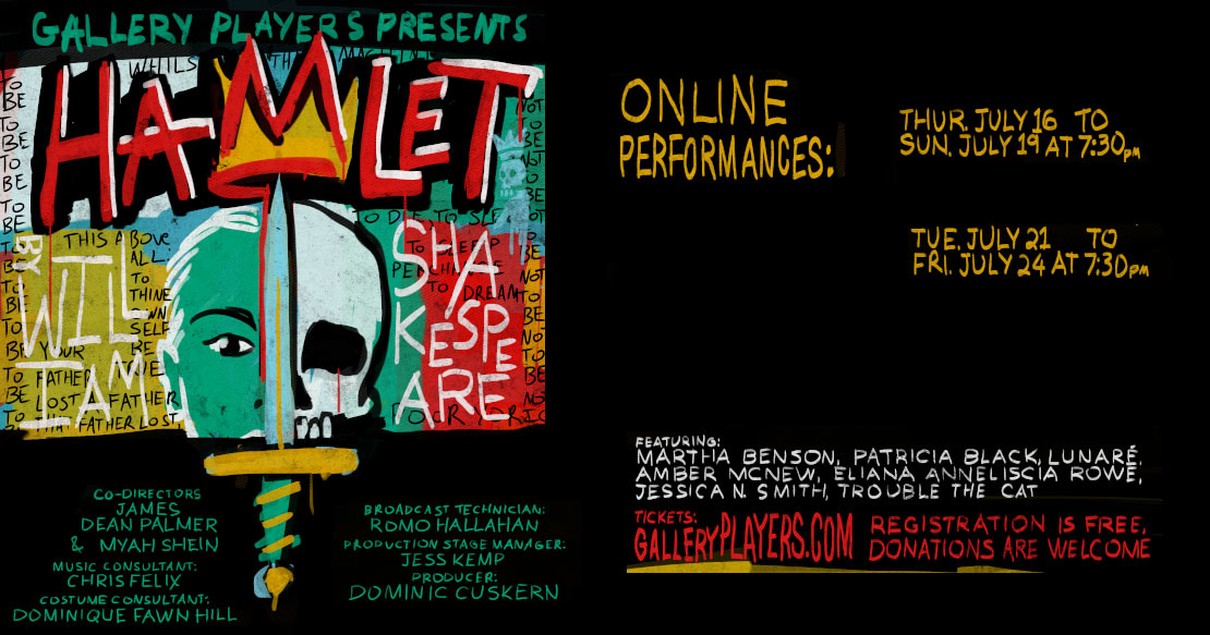 Gallery Players presents a live broadcast production of William Shakespeare's Hamlet, an old-fashioned revenge play that turns out to be his most modern-seeming play