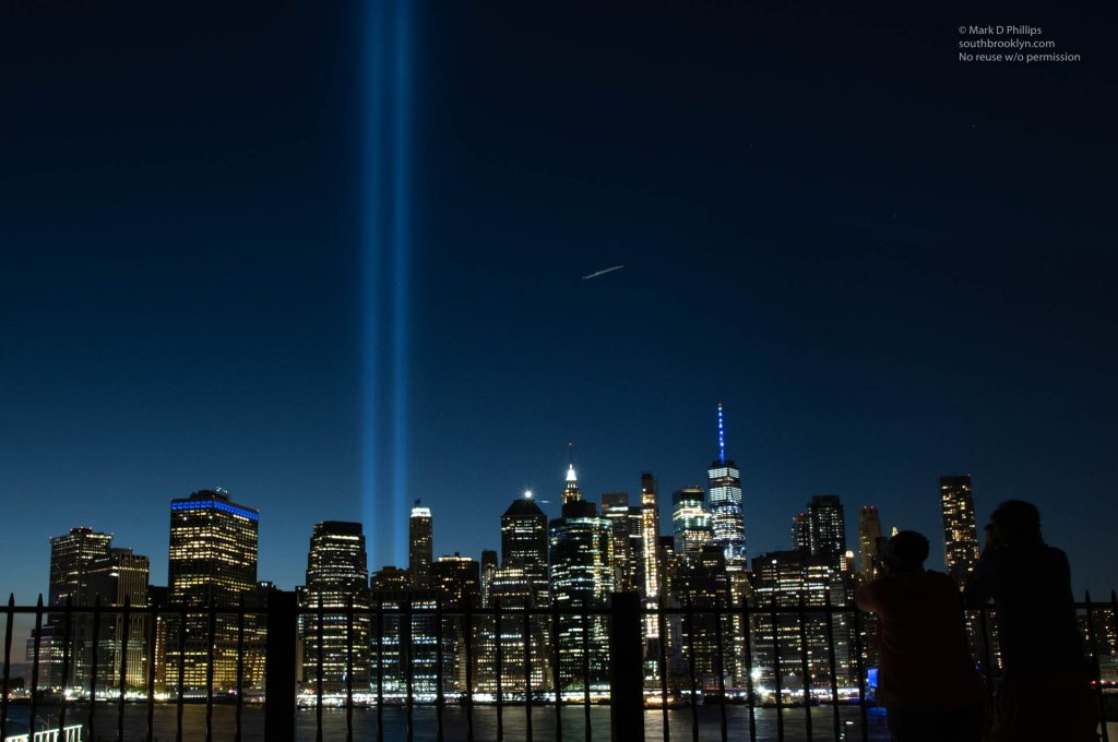Tribute in Light memorial to 9/11 from the Brooklyn Heights Promenade in Brooklyn. ©Mark D Phillips