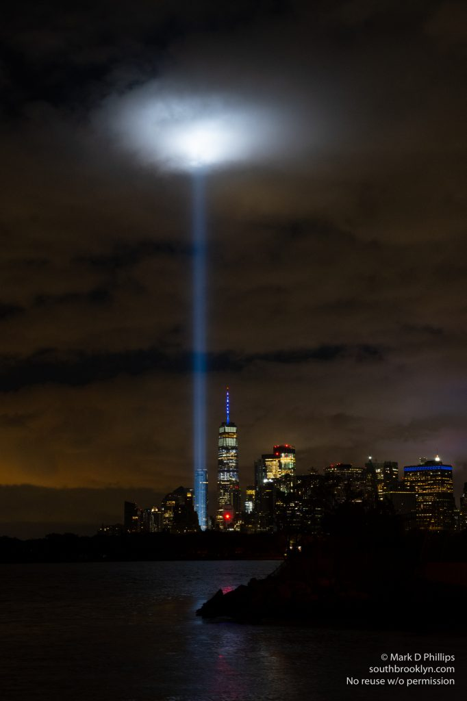 Tribute in Light memorial to 9/11 from Valentino Pier in Red Hook, Brooklyn. ©Mark D Phillips