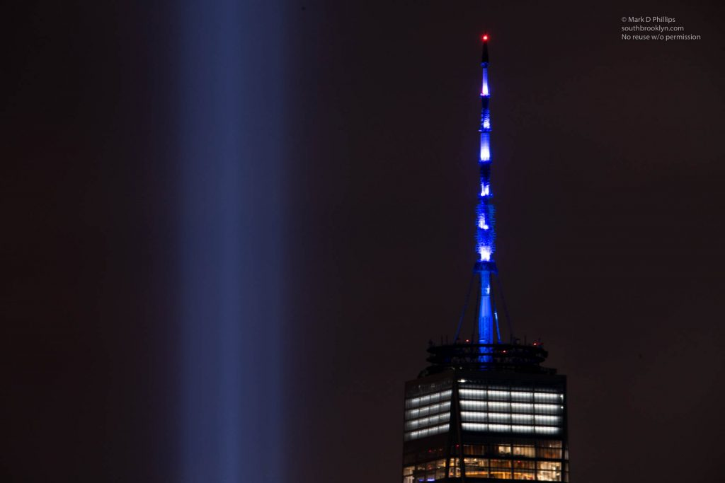 Tribute in Light memorial to 9/11 from Brooklyn Heights and Red Hook. ©Mark D Phillips
