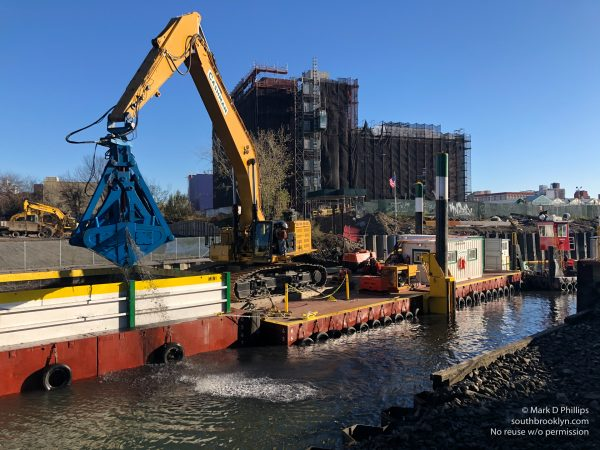 EPA begins dredging the Gowanus Canal in November 2020 by the Carroll Street Bridge. ©Mark D Phillips