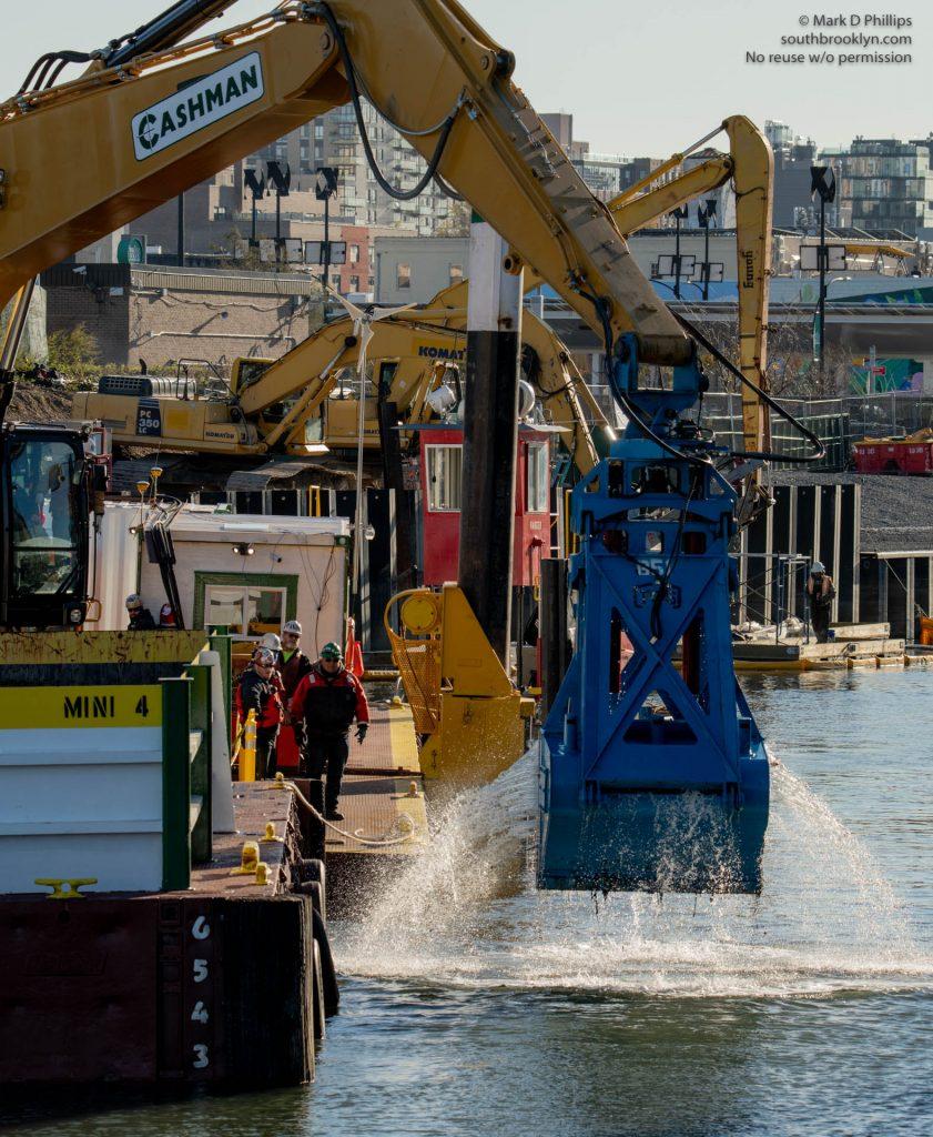 EPA begins dredging the Gowanus Canal in November 2020 by the Carroll Street Bridge. ©Mark D Phillips
