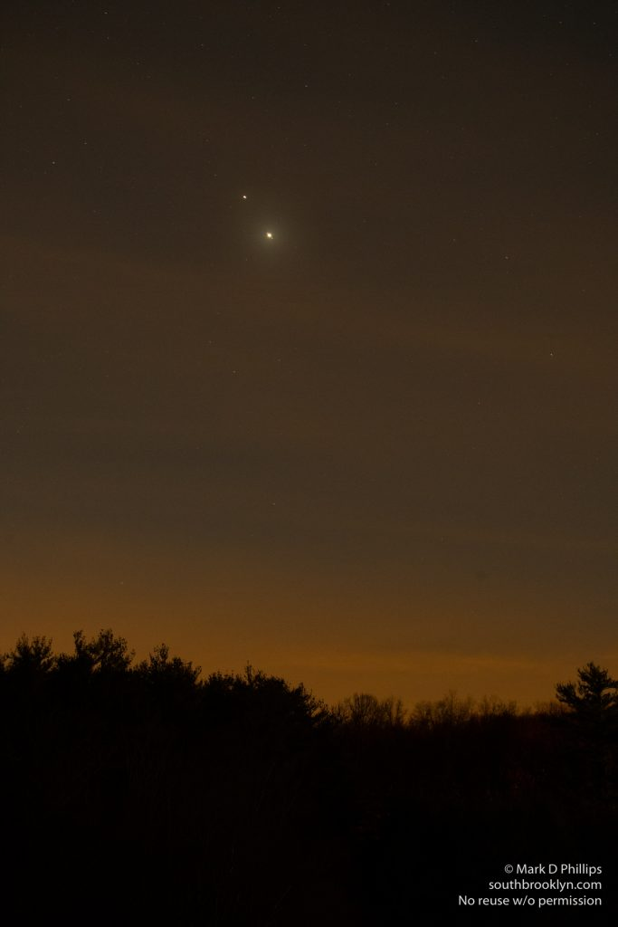 Jupiter and Saturn on December 15, 2020, approaching conjunction.