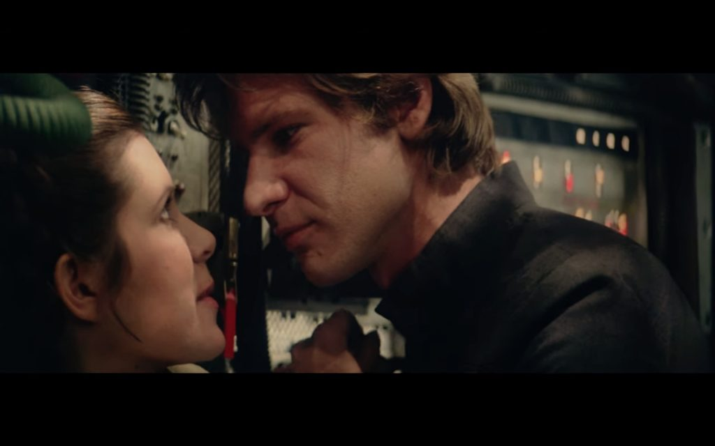 Carrie Fisher and Harrison Ford on set of The Empire Strikes Back for take 8 of their romantic scene. Screenshot: Lucasfilms