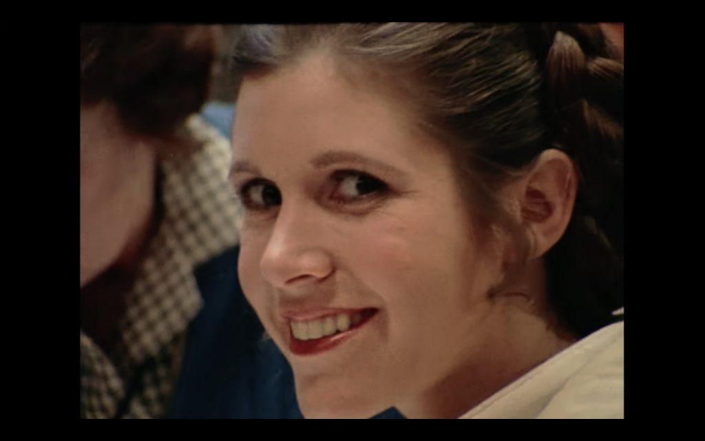 Carrie Fisher on set of The Empire Strikes Back. Screenshot: Lucasfilms