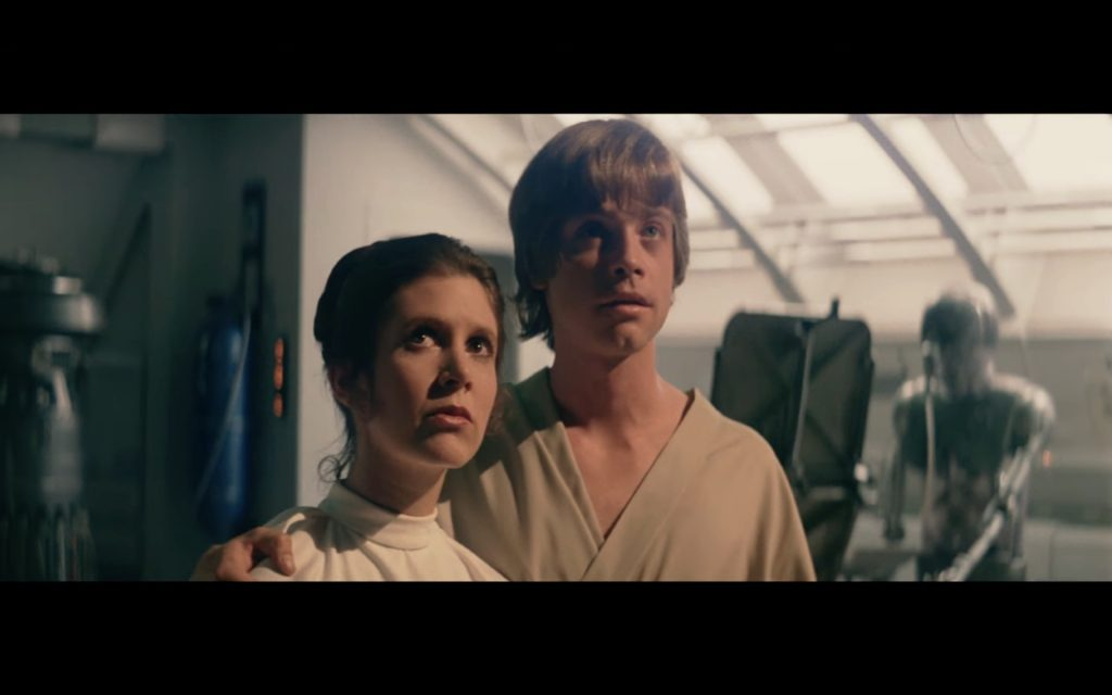 Carrie Fisher and Mark Hamill on set of The Empire Strikes Back. Screenshot: Lucasfilms