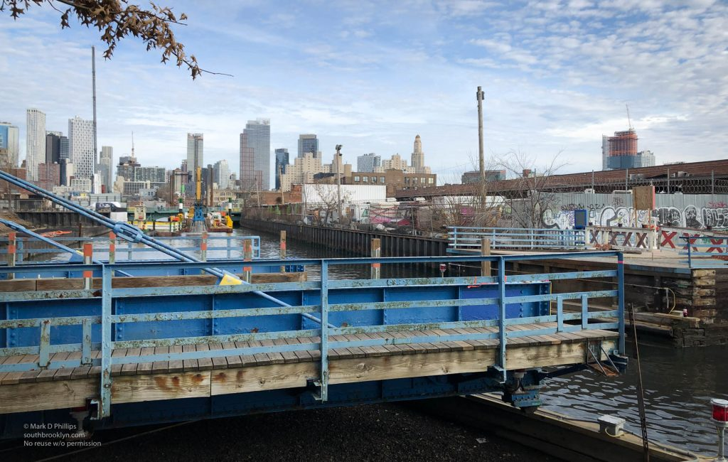 Carroll Street Bridge rolled off the Gowanus Canal as dredging is done in the EPA Superfund project. ©Mark D Phillips