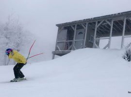 Liza Phillips leaves the start house building on the Rocket trail at Cannon Mountain in New Hampshire on January 28, 2021.