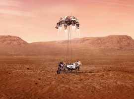 An illustration of NASA's Perseverance rover landing safely on Mars. Hundreds of critical events must execute perfectly and exactly on time for the rover to land safely on Feb. 18, 2021. Credits: NASA/JPL-Caltech