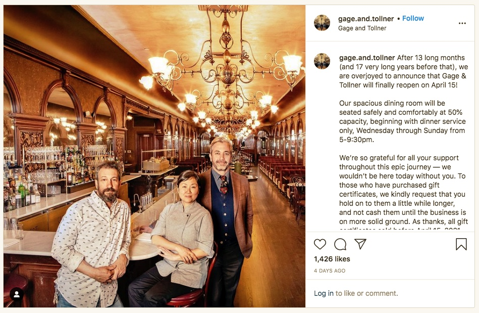 gage.and.tollner instagram post announcing opening on April 15, 2021.