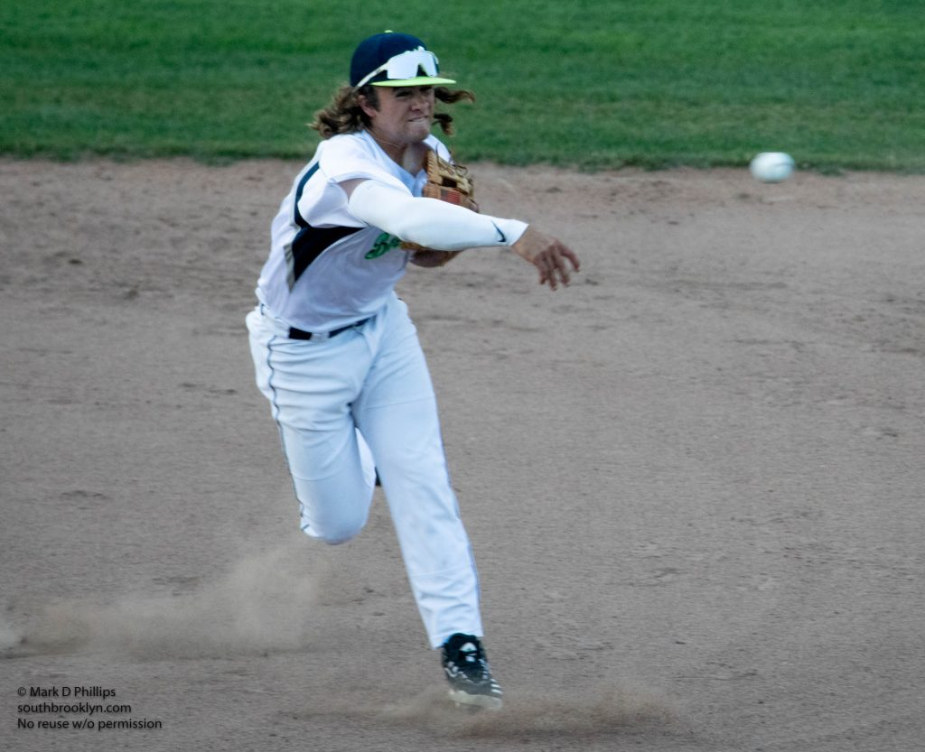 Worcester Bravehearts shortstop Dakota Harris fires to first after a second inning ground ball on opening night on May 26, 2021. Photo by Mark D Phillips