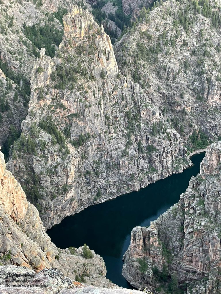 Colorado June 23, 2021: Looking down on the Curecanti Needle and Morrow Point Reservoir in Colorado. ©Mark D Phillips