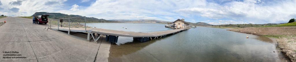 Colorado June 23, 2021: Panorama of Lake Fork Marina at Blue Mesa Reservoir at 50% capacity near Gunnison, CO. ©Mark D Phillips