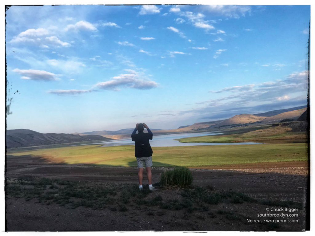 Colorado June 24, 2021: Mark D Phillips stands at the former waterline of Blue Mesa Reservoir with the water at 50% capacity. ©Chuck Bigger