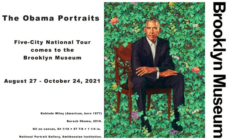 The groundbreaking portraits of President Barack Obama and former First Lady Michelle Obama—painted by Kehinde Wiley and Amy Sherald, respectively—go on view at the Brooklyn Museum this August in the paintings' only Northeastern stop on their five-city tour