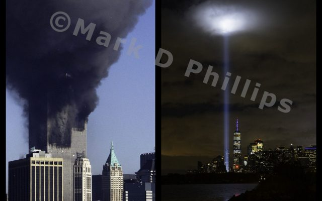 """9/11 Diptych is twenty years of New York 9/11 history with two images by Mark D Phillips – """"Satan in the Smoke"""" and """"The Hand of God"""" – printed on 11″ x 14″ aluminum, made to hang floating on the wall."""